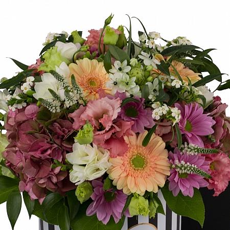 Aranjament de Gerbera, Hortensia, Lisianthus, Crizanteme, Crizantemă, Ornitogalum, Euphorbia, Frezii