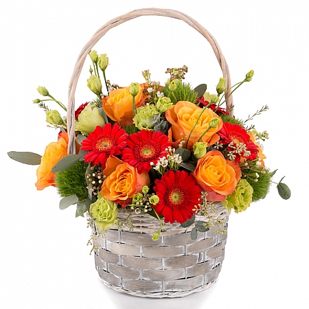 Aranjament de Trandafiri, Portocalii, Portocaliu, Gerbera, Green trick, Lisianthus, Waxflower, Verde