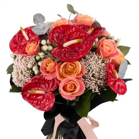 Buchet de 11, Trandafiri, Roz, 5, Anthurium, Roșii, Roșu, 4, Floare de orez, 6, Hypericum, Alb