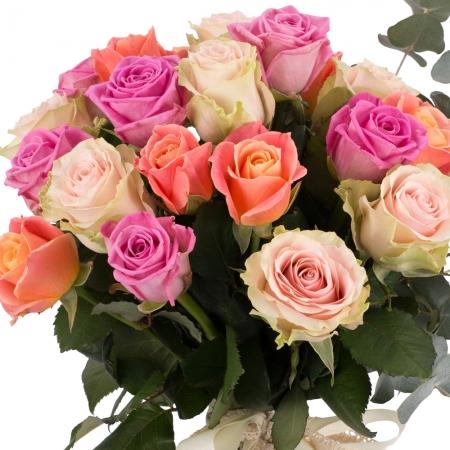 Buchet de 21 Trandafiri tricolor