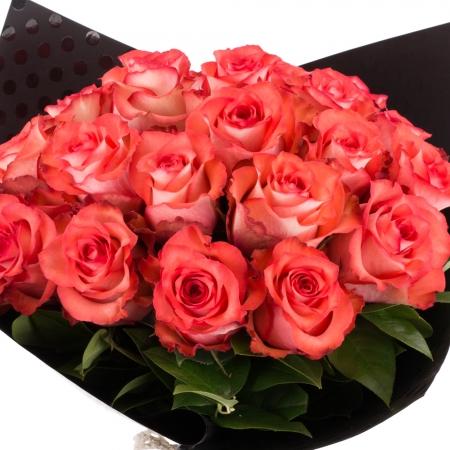 Buchet de 25 Trandafiri corai