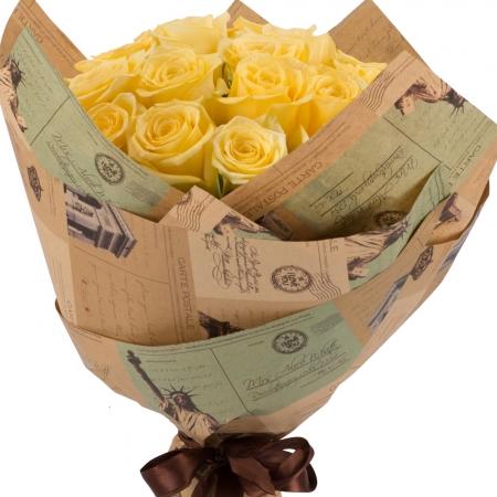 Buchet de 25 Trandafiri galbeni