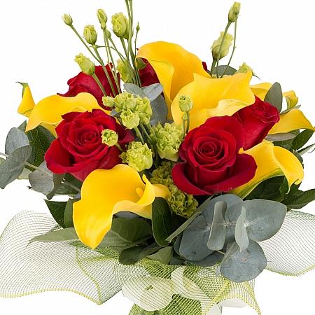 Buchet de 5, Trandafiri, Roșii, Roșu, 9, Cale, Galbene, 3, Lisianthus, Verde, Verzi, Verdeață