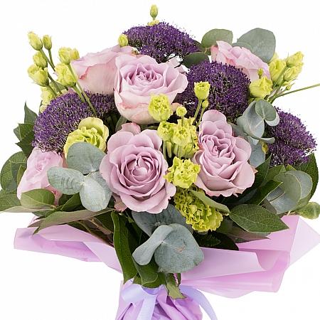 Buchet de 7, Trandafiri, Mov, 5, Lisianthus, Verde, Verzi, 5, Trahelium, Mov, Verdeață