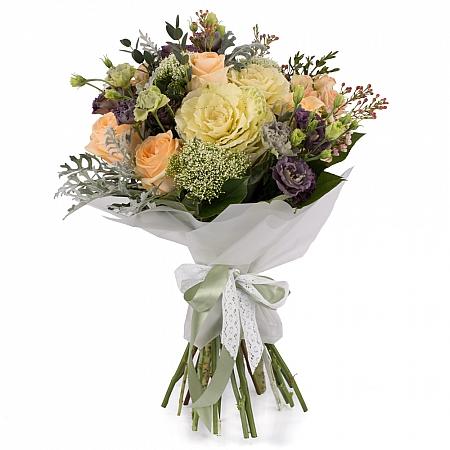 Buchet de Trandafiri, Banan, Lisianthus, Mov, Brasica, Minirosa, Trahelium, Waxflower, Roz, Verdeață