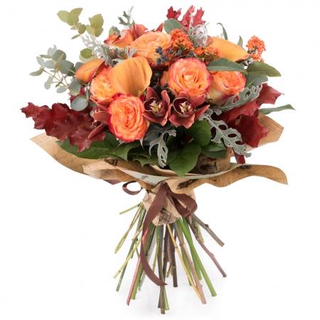 Buchet de Trandafiri, Portocalii, Cale, Cymbidium, Orhidee, Euphorbia, Viburnum, Blue, Muffin, Verde