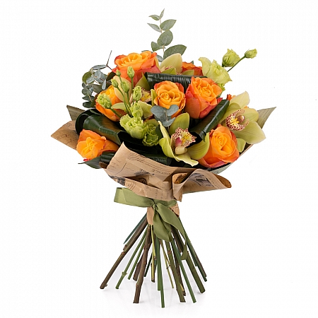 Buchet de Trandafiri, Portocalii, Portocaliu, Lisianthus, Verde, Cymbidium, Orhidee, Aspidistra