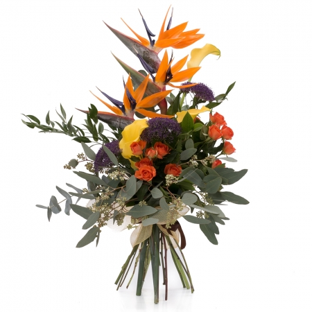 Buchet din Streliția, Strelitzia, Trahelium Mov, Cale galbene, Cală, Minirosa portocalie, Portocaliu