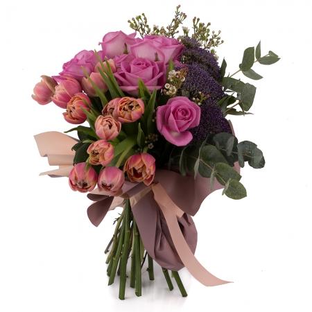Buchet din Trandafiri, Ciclam, Lalele, Roz, Lalea, Trahelium, Mov, Waxflower, Alb, Verdeață