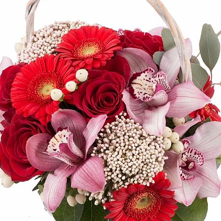 Buchet din Trandafiri, Roșii, Gerbera, Floare de orez, Hypericum, Cymbidium, Orhidee, Verdeață, Coș