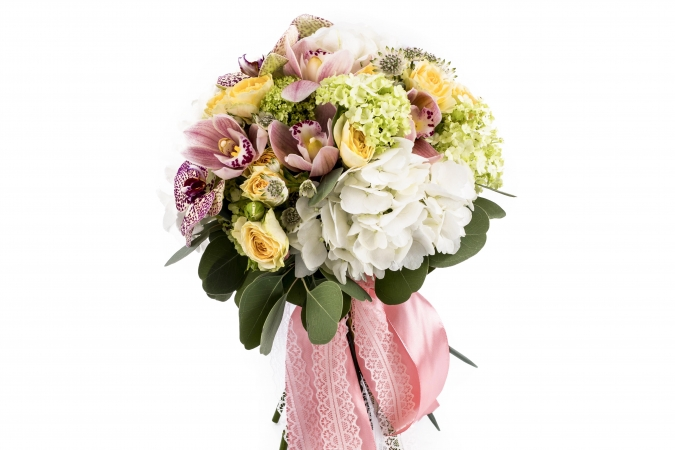 Buchet Mireasa/Nasa Hortensia,Viburnum si cymbidium