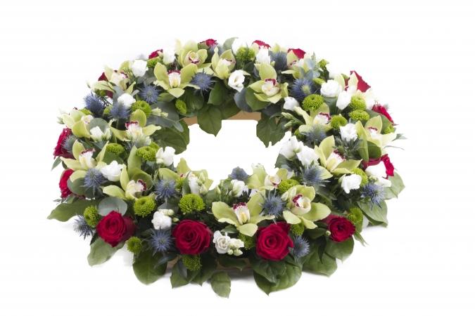 Croroana funerara rotunda trandafiri si cymbidium