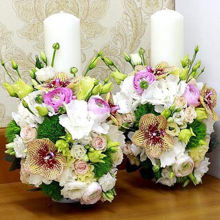 Lumanare nunta/botez phalaenopsis si green trick