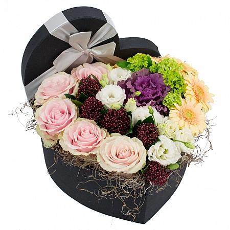 Trandafiri, Roz, Schimia, Lisianthus, Alb, Brasica, Mov, Viburnum, Gerbera, Crem, Cutie, Inimă