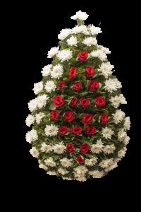 Coroana funerara din crizantema alba si trandafiri rosii in centru 2