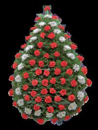 Coroana funerara clasica din garoafe rosii si crizantema alba 2