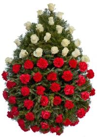 Coroana funerara clasica din garoafe si trandafiri 2