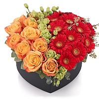 Aranjament de 10 Trandafiri, Portocalii, Portocaliu, Gerbera, Roșii, Roșu, Roșie, Lisianthus, Verde 2