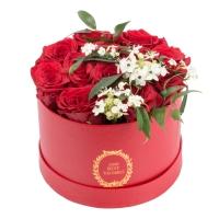 Aranjament de 13, Trandafiri, Roșii, Roșu, Roșie, 2, Ornitogalum, 1, Euphorbia, Albă, Cutie, Rotundă 2
