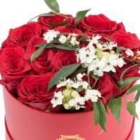 Aranjament de 13, Trandafiri, Roșii, Roșu, Roșie, 2, Ornitogalum, 1, Euphorbia, Albă, Cutie, Rotundă 3