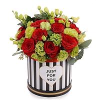 Aranjament de 15, Trandafiri, Roșii, Roșu, Roșie, 5, Lisianthus, Verde, Verzi, 5, Viburnum, Cutie 2