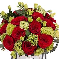 Aranjament de 15, Trandafiri, Roșii, Roșu, Roșie, 5, Lisianthus, Verde, Verzi, 5, Viburnum, Cutie 3
