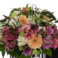 Aranjament de Gerbera, Hortensia, Lisianthus, Crizanteme, Crizantemă, Ornitogalum, Euphorbia, Frezii 3
