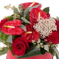 Aranjament de Trandafiri, Anthurium, Green trick, Floare de orez, Verdeață, Cutie, Rotundă, Roșie 3