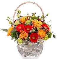 Aranjament de Trandafiri, Portocalii, Portocaliu, Gerbera, Green trick, Lisianthus, Waxflower, Verde 2