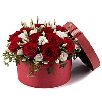 Aranjament din trandafiri și lisianthus 2