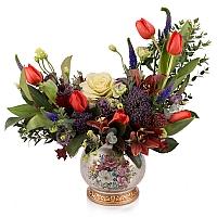 Aranjament floral din lalele, lisianthus, orhidee, veronica, trahelium, cymbidium, vas ceramic 2