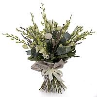 Buchet de 10, Dendrobium, Alb, 5, Lisianthus, Alb, Lavanda, Verdeață 2
