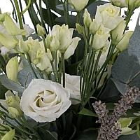 Buchet de 10, Dendrobium, Alb, 5, Lisianthus, Alb, Lavanda, Verdeață 4
