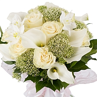Buchet de 11, Trandafiri, Albi, 10, Cale, Albe. Cală, 2, Eucharis, Grandiflora, Verdeață 3
