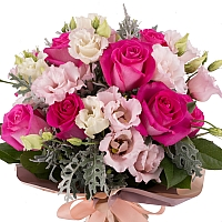 Buchet de 11, Trandafiri, Ciclam, 7, Lisianthus, Roz, Senecio, Cineraria, Verdeață 3