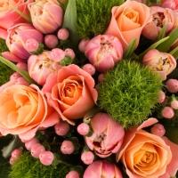 Buchet de 11, Trandafiri, Roz, 20, Lalele, Roz, Lalea, 6, Hypericum, Roz, 6, Green trick, Verdeață 4