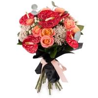 Buchet de 11, Trandafiri, Roz, 5, Anthurium, Roșii, Roșu, 4, Floare de orez, 6, Hypericum, Alb 2
