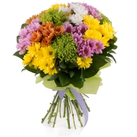 Buchet de 13, Crizanteme, Multicolore, Verdeață 2