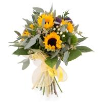 Buchet de 5, Floarea soarelui, 3, Trahelium, Mov, 4, Hypericum, Alb, 4, Green trick, Verdeață 2
