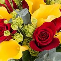 Buchet de 5, Trandafiri, Roșii, Roșu, 9, Cale, Galbene, 3, Lisianthus, Verde, Verzi, Verdeață 4