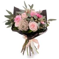 Buchet de 5, Trandafiri, Roz, 3, Bouvardia, 5, Gerbera, 2, Floare de orez, Verdeață 2