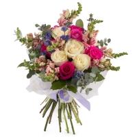 Buchet de 7, Trandafiri, Albi, 6, Trandafiri, Ciclam, 8, Antirrhinum, Roz, 6, Floare de mentă, Verde 2