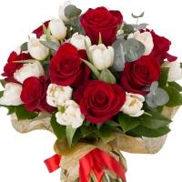 Buchet de 9, Trandafiri, Roșii, Roșu, 20, Lalele, Albe, Lalea, Verdeață 3