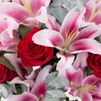Buchet de 9, Trandafiri, Roșii, Roșu, Roșie, 5, Crini, Roz, Verdeață 4