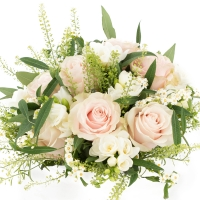 Buchet de 9, Trandafiri, Roz, 8, Frezii, Albe, Frezie, 6, Euphorbia, Albă, Verdeață 3
