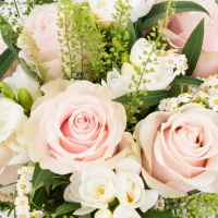 Buchet de 9, Trandafiri, Roz, 8, Frezii, Albe, Frezie, 6, Euphorbia, Albă, Verdeață 4