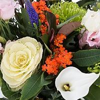 Buchet de Brasica, Lisianthus, Euphorbia, Crizanteme, Green spider, Veronica, Cale, Albe, Cală 4