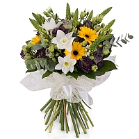 Buchet de Ornitogalum, Lisanthus, Mov, Trahelium, Gerbera, Galbenă, Eucharis, Grandiflora, Verdeață 2