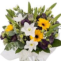 Buchet de Ornitogalum, Lisanthus, Mov, Trahelium, Gerbera, Galbenă, Eucharis, Grandiflora, Verdeață 3