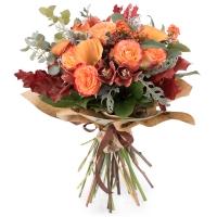 Buchet de Trandafiri, Portocalii, Cale, Cymbidium, Orhidee, Euphorbia, Viburnum, Blue, Muffin, Verde 2